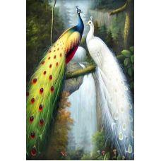 Мозаика стразами Павлины, 50x75, полная выкладка, Алмазная живопись