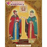 Мозаика стразами Икона Святые Петр и Феврония, 22x28, частичная выкладка, Алмазная живопись