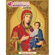 Мозаика стразами Икона Иверская Богородица, 22x28, частичная выкладка, Алмазная живопись
