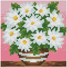 Мозаика стразами Ромашки в горшочке, 15x15, полная выкладка, Алмазная живопись