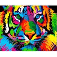 Живопись по номерам Радужный тигр, 40x50, Paintboy, GX27378