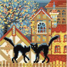 Алмазная мозаика Город и кошки. Осень, 20x20, полная выкладка, Риолис