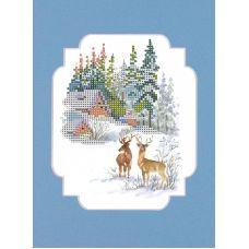 Набор для вышивания с бисером и паспарту Зимние гости, 24x26 (12x15), Матренин посад