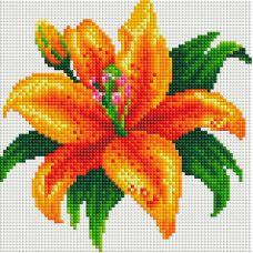Алмазная мозаика Тигровая лилия, 20x20, полная выкладка, Белоснежка