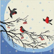 Канва с рисунком Снегири, 40x40, Божья коровка