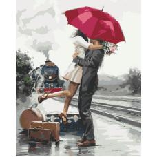 Живопись по номерам Объятия под красный зонтом, 40x50, Hobruk, U8031