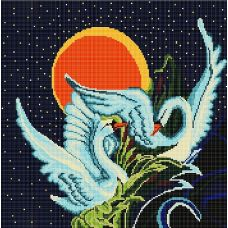 Канва с рисунком Лебеди, 40x40, Божья коровка