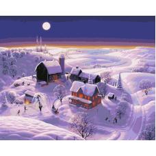 Живопись по номерам Зимняя деревня, 40x50, Hobruk, HS0288