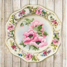 Набор для вышивания гладью Тарелка с розовыми маками, частичная вышивка, 21x21, Риолис, Сотвори сама