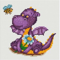 Алмазная мозаика Маленький динозаврик, 20x20, полная выкладка, Белоснежка