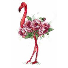 Набор для вышивания крестом по водорастворимой канве Фламинго, 15x9, Жар-Птица (МП-Студия)