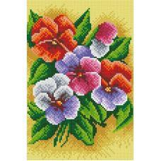 Алмазная мозаика Фиалки трехцветные, 20x30, полная выкладка, Белоснежка