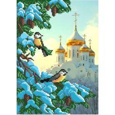 Рисунок на габардине Зимний храм, 40x35 (28x18), МП-Студия, Г-013