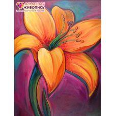 Мозаика стразами Тигровая лилия, 24x30, полная выкладка, Алмазная живопись