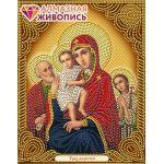 Мозаика стразами Икона Богородица Трех Радостей, 22x28, частичная выкладка, Алмазная живопись